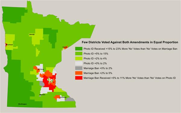 map of minnesota showing which districts voted for both amendments in 2012
